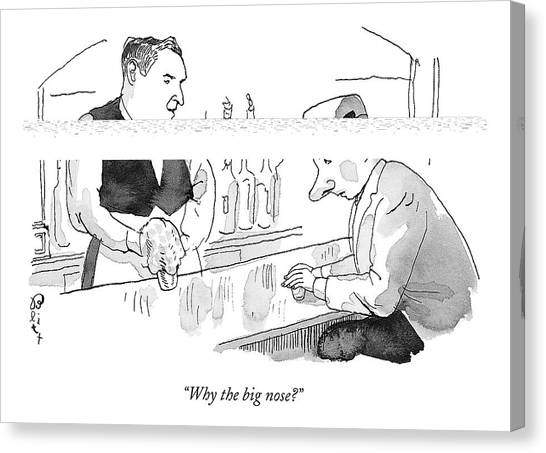 Bartender Canvas Print - Why The Big Nose? by Barry Blitt
