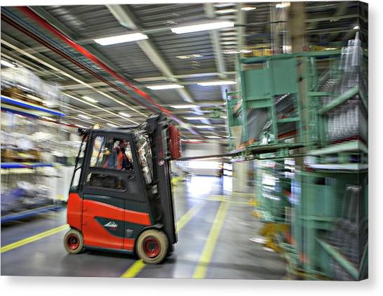 Forklifts Canvas Print - Mini Car Factory by Lewis Houghton/science Photo Library