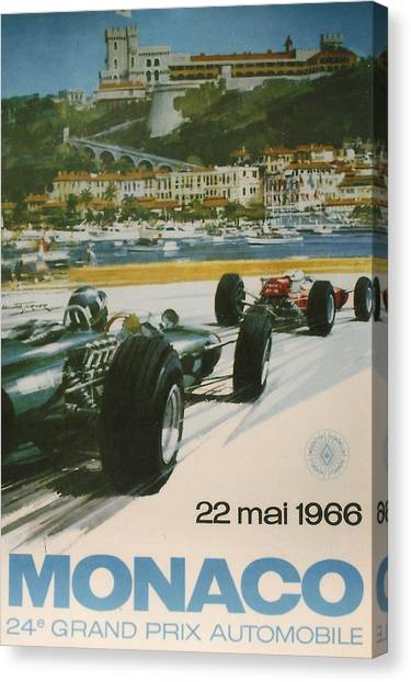Formula 1 Canvas Print - 24th Monaco Grand Prix 1966 by Georgia Fowler