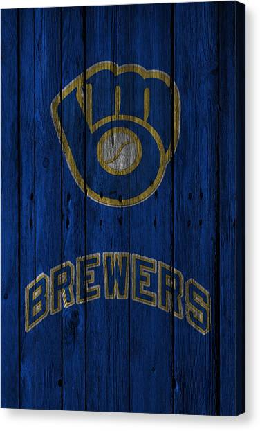 Foul Canvas Print - Milwaukee Brewers by Joe Hamilton