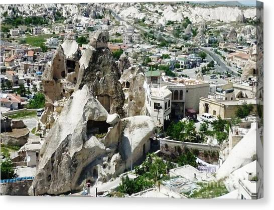 Mountain Caves Canvas Print - Nevsehir Landscape by Ted Pollard