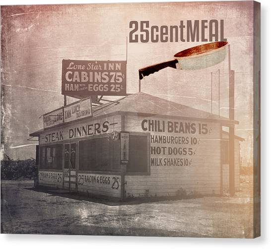 Eggs And Bacon Canvas Print - 25centmeal by Toni Hopper