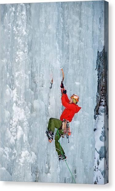 Ice Climbing Canvas Print by Elijah Weber