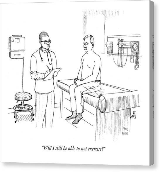 Checks Canvas Print - Will I Still Be Able To Not Exercise? by Paul Noth