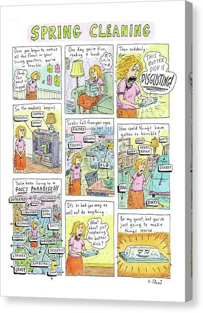 Spring Canvas Print - Spring Cleaning by Roz Chast