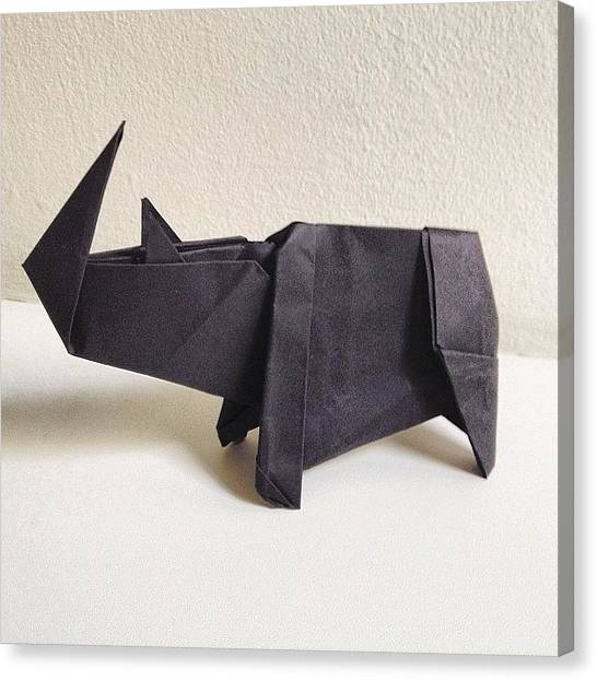 Rhinos Canvas Print - 28/365 - Black Paper Rhino #origami by Ross Symons