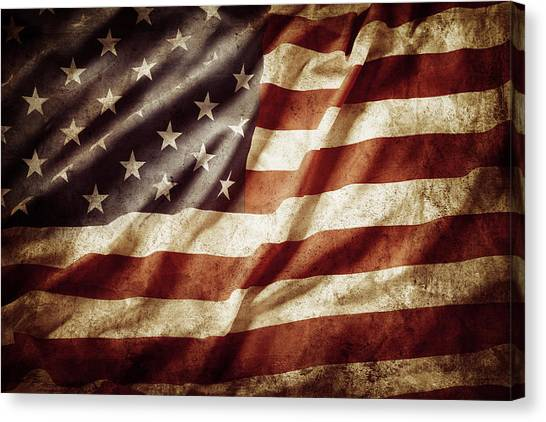 Democratic Canvas Print - American Flag by Les Cunliffe