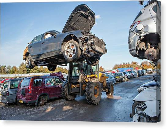 Forklifts Canvas Print - Scrapyard by Lewis Houghton/science Photo Library
