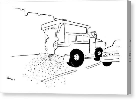 Dump Trucks Canvas Print - New Yorker September 5th, 2005 by Michael Shaw