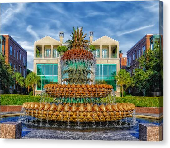 Pineapple Fountain - Morning At Waterfront Park Canvas Print by Frank J Benz