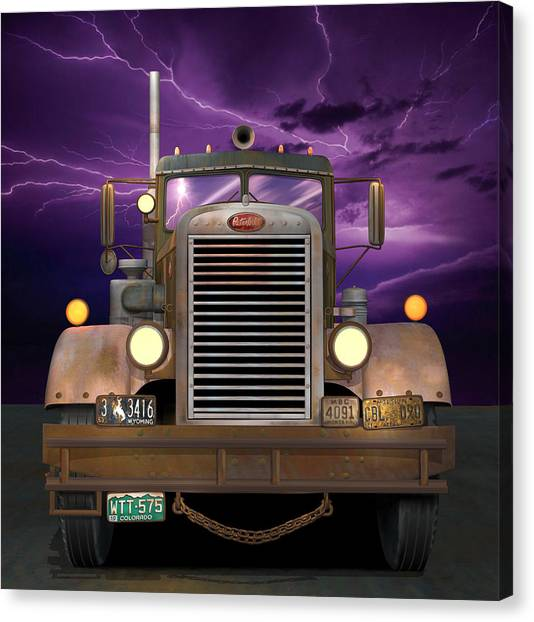 Rusty Truck Canvas Print - 1955 Peterbilt by Stuart Swartz