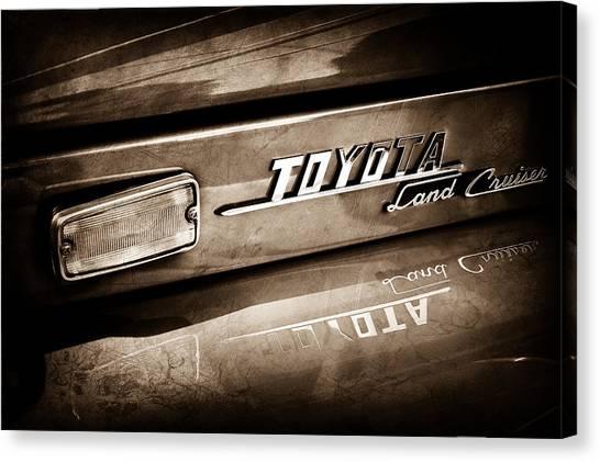 Toyota Canvas Print - 1970 Toyota Land Cruiser Fj40 Hardtop Emblem -0700s by Jill Reger