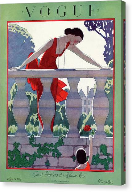 A Vintage Vogue Magazine Cover Of A Woman Canvas Print by Andre E  Marty