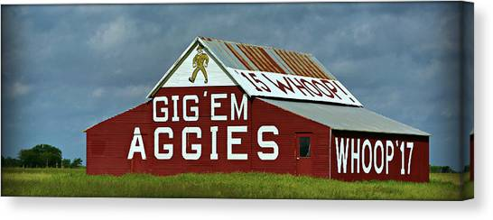 The University Of Texas Canvas Print - Aggie Barn - Panoramic by Stephen Stookey
