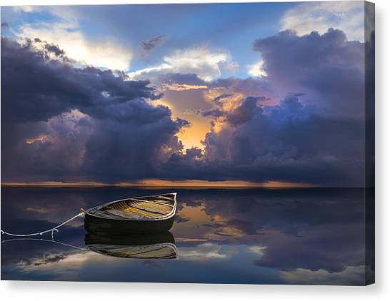 Ocean Sunrises Canvas Print - Alone by Debra and Dave Vanderlaan