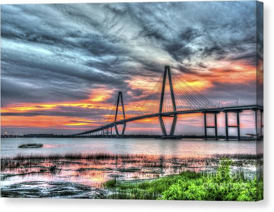 Arthur Ravenel Bridge Stormy Skies Canvas Print