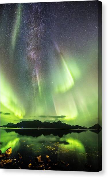 Auroras And Milky Way Canvas Print