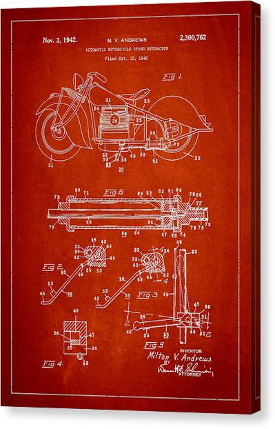 Harley Davidson Patent Canvas Print - Automatic Motorcycle Stand Retractor Patent Drawing From 1940 by Aged Pixel
