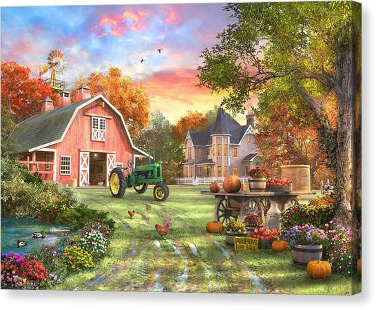John Deere Canvas Print - Autumn Farm by Dominic Davison