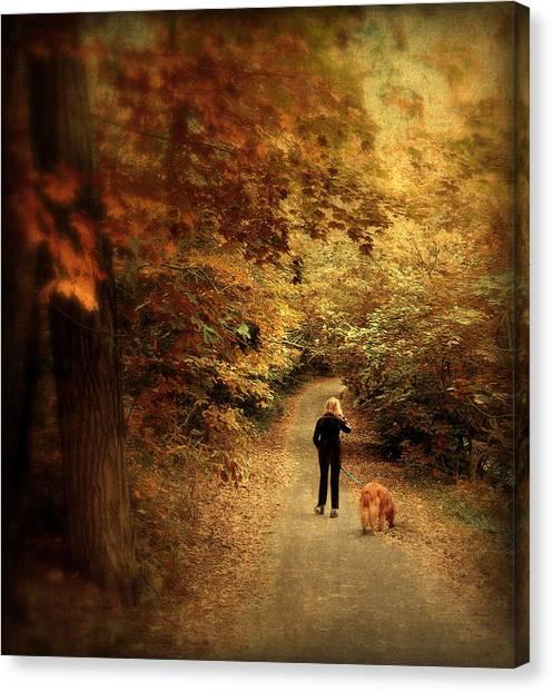 Dog Walking Canvas Print - Autumn Stroll by Jessica Jenney