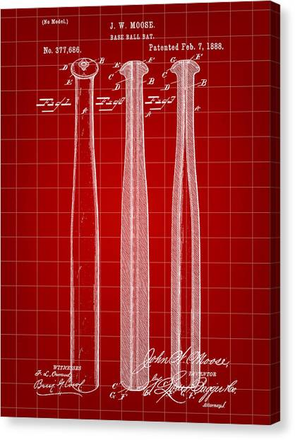 Fast Ball Canvas Print - Baseball Bat Patent 1888 - Red by Stephen Younts