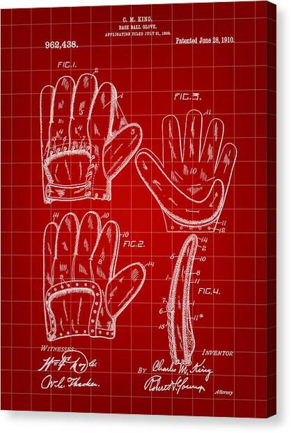 Fast Ball Canvas Print - Baseball Glove Patent 1909 - Red by Stephen Younts