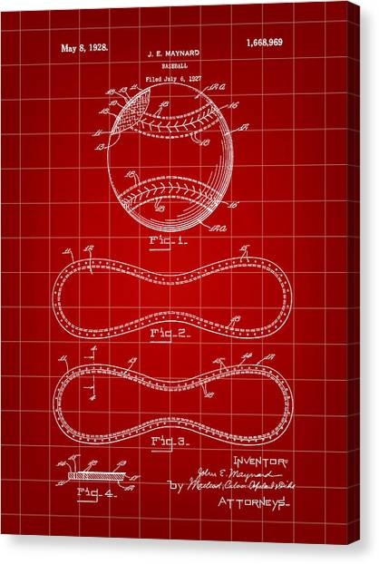 Fast Ball Canvas Print - Baseball Patent 1927 - Red by Stephen Younts