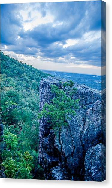 Beautiful Aerial Landscape Views From Crowders Mountain Near Gas Canvas Print