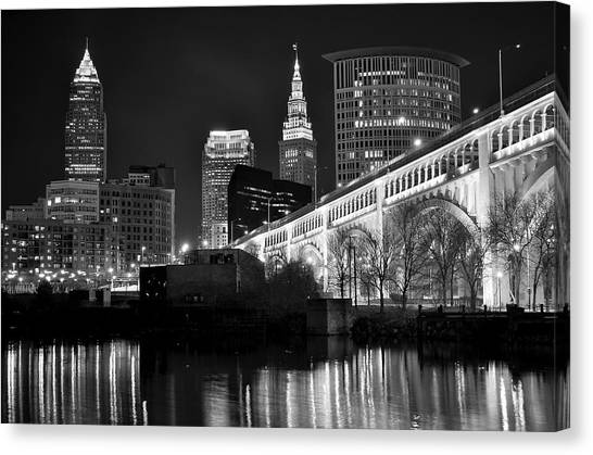 Cleveland State University Canvas Print - Black And White Cleveland by Frozen in Time Fine Art Photography