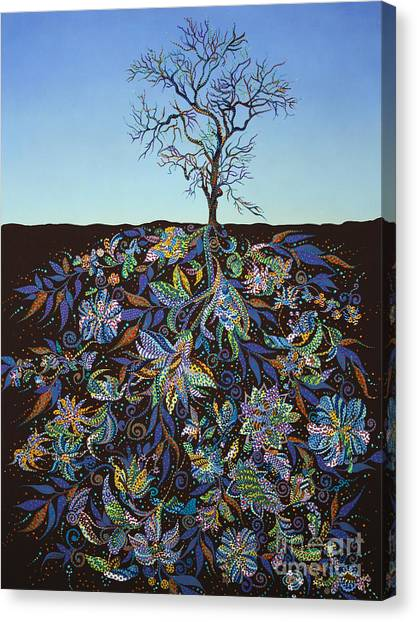 Blooming Tree Canvas Print - Blue Afternoon  by Erika Pochybova