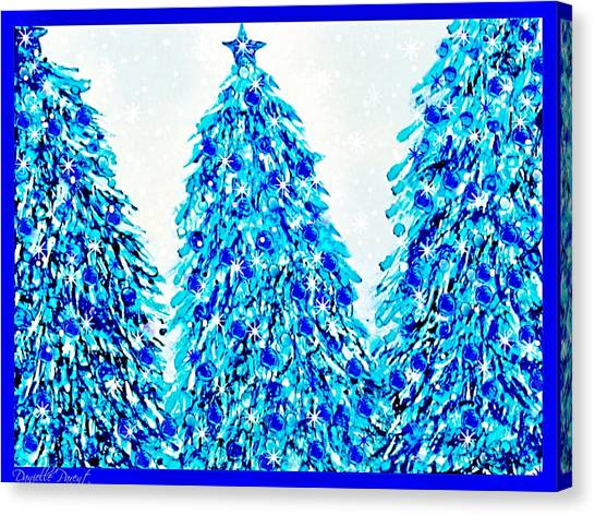 3 Blue Christmas Trees Alcohol Inks  Canvas Print