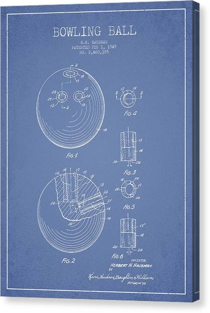 Bowling Canvas Print - Bowling Ball Patent Drawing From 1949 by Aged Pixel