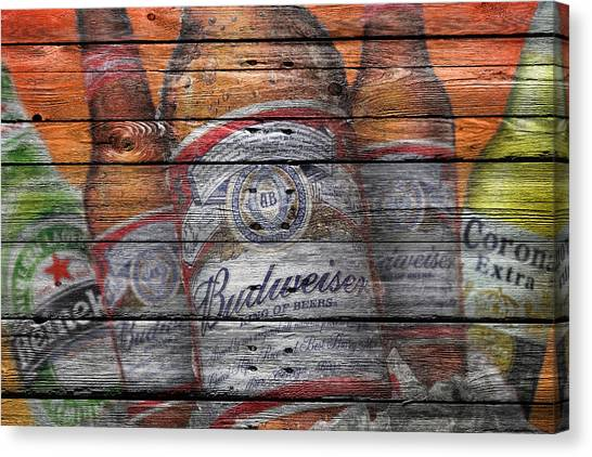 Beer Can Canvas Print - Budweiser by Joe Hamilton