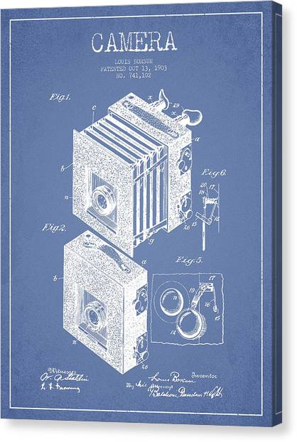 Vintage Camera Canvas Print - Camera Patent Drawing From 1903 by Aged Pixel