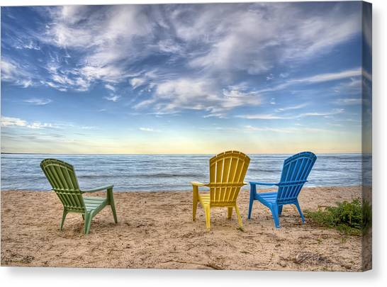 Lake Michigan Canvas Print - 3 Chairs by Scott Norris