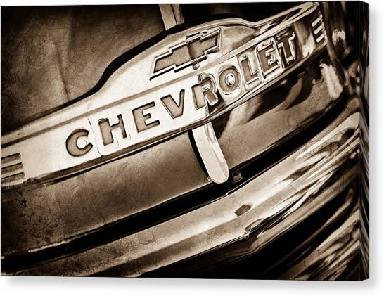 Chevy Pickup Canvas Print - Chevrolet Pickup Truck Grille Emblem by Jill Reger