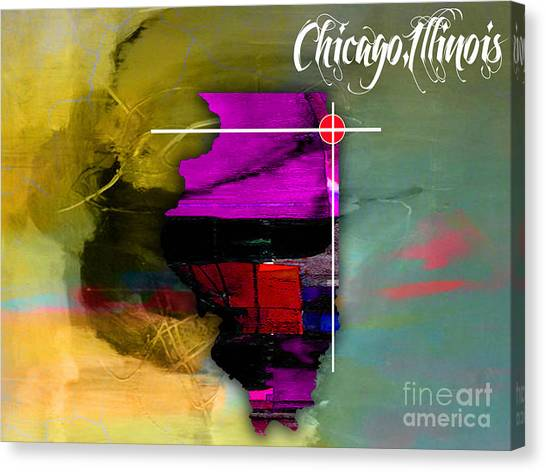 Illinois Map Canvas Print - Chicago Illinois Map Watercolor by Marvin Blaine
