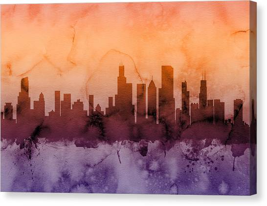 Sears Tower Canvas Print - Chicago Illinois Skyline by Michael Tompsett