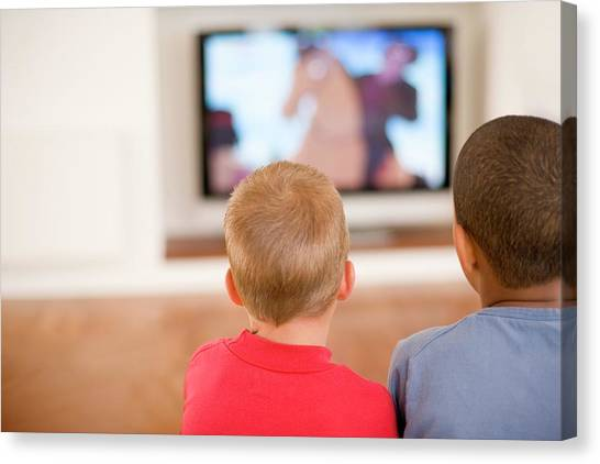 Children Watching Television Canvas Print by Ian Hooton/science Photo Library