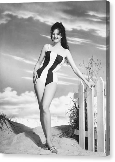 Bikini Canvas Print - Claudia Cardinale by Silver Screen