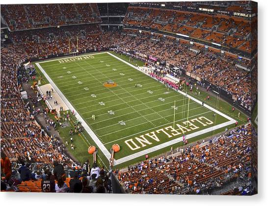 Running Backs Canvas Print - Cleveland Browns Stadium by Frozen in Time Fine Art Photography