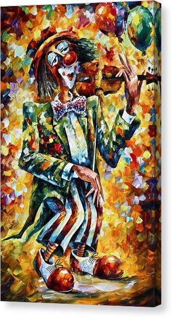 Fiddle Canvas Print - Clown by Leonid Afremov