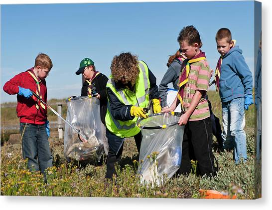 Girl Scouts Canvas Print - Collecting Litter by Matthew Oldfield