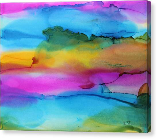 3 Colors Horizontal Abstract Canvas Print by Kim Thompson