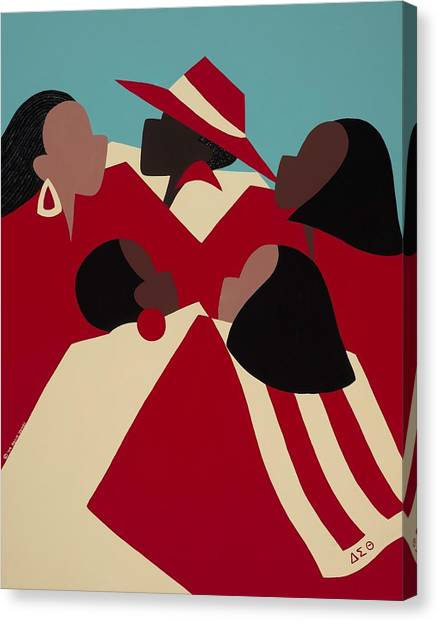 Sorority Canvas Print - Crimson And Cream by Synthia SAINT JAMES
