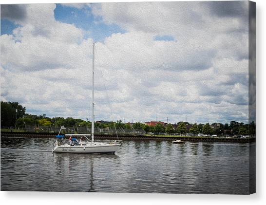 Cruising The Saginaw River Canvas Print by Tom Causley