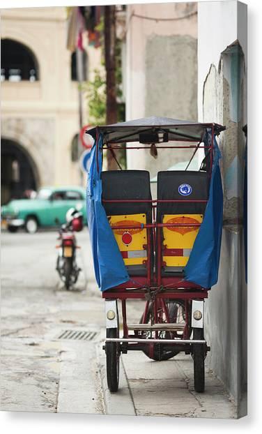 Cuba Canvas Print - Cuba, Havana, Havana Vieja, Pedal Taxi by Walter Bibikow