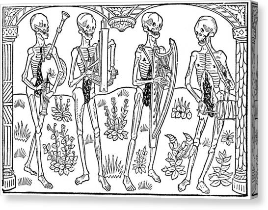 Bagpipes Canvas Print - Dance Of Death, 1490 by Guyot Marchand