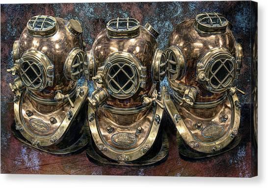 Scuba Diving Canvas Print - 3 Deep-diving Helmets by Daniel Hagerman