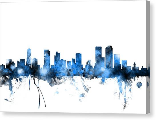 Denver Canvas Print - Denver Colorado Skyline by Michael Tompsett